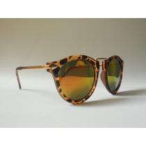 Óculos De Sol Feminino Retrô Leopardo Espelhado