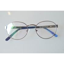 Óculos P/ Grau Lindo Unissex Estilo Retrô Redondo Prata C44