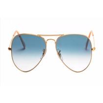 Oculos De Sol Aviador Rb 3025 Lente Azul Ray Ban Original