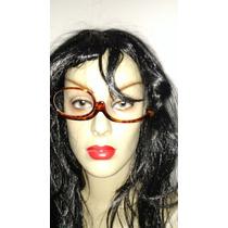 Maquiar-se Óculos P/maquiagem Marron C/ Uma Lente Grau +4