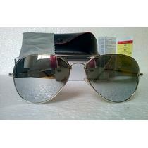 Óculos De Sol Modelo Aviador Lente Prata Espelhado