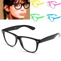 Armação Óculos Wayfarer Geek Nerd Retrô - Lente Tranparente