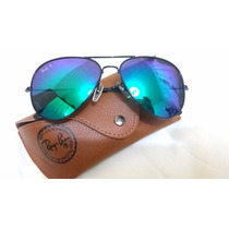 Oculos Ray Ban Aviador Preto Lente Verde Espelhada Palarizad