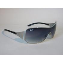 Óculos De Sol Rb3321 Máscara Prata Lente Fume Degrade
