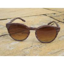 Óculos De Sol Armação Cor Madeira Wayfarer