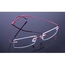 Armação Vermelha Oculos De Grau Metal Titanium Sem Aro - 406