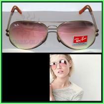 Óculos De Sol Rb3025 Aviador Tamanho M, Rosê