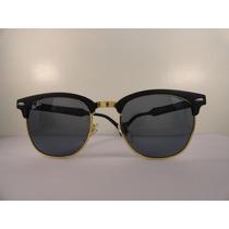 Oculos De Sol Rayban Club Preto E Dourado Lente Fume