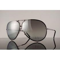 Óculos Sol Porsche P 8478 Aviador Titanium Troca Lentes 66mm