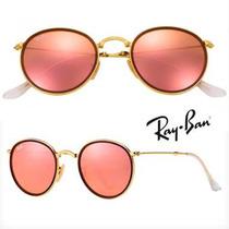 Ray Ban Round Espelhado Dobrável Rose Gold Rosa Feminino