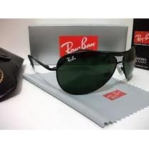 Óculos De Sol Ray Ban 8015 Armação Preta Lente Verde