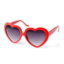 Óculos Escuro Feminino Coração Lolita Retrô Pin Up Vermelho