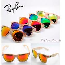 Oculos Sol Rayban Wayfarer Madeira/ Bamboo Espelhado Cores