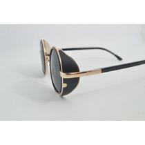 Óculos Sol Unissex Vintage Lentes Redondas Proteção Lateral