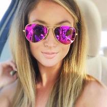 Óculos Feminino Roxo Pink Espelhado 3025/3026 Frete Gratis