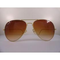 Oculos De Sol Estilo Aviador 3025 Dourado Lente Marrom Degra