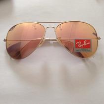 Óculos Ray Ban Aviador Espelhado Rosa Rb 3025 3026 Pink Rose