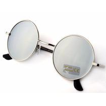 Oculos De Sol Redondo Espelhado Moda Vintage Proteção Uv400