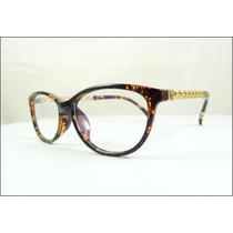 Armação Óculos De Grau Tartaruga Haste Corrente Dourada A508