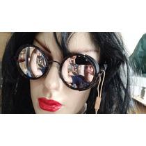 Óculos Sol Fechado Dos Lados Preto Lentes Espelho Unissex