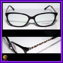 Óculos De Grau Armação Preta Couro Vermelho Chanel 3221