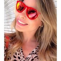 Óculos Rb4171 Veludo Vermelho Lentes Vermelhas Espelhadas