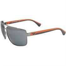 Óculos De Sol Masculino Emporio Armani Prata E Laranja