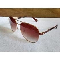 Óculos De Sol Feminino Aviador Degradê Dourado - Uv 400