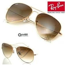 Óculos Rb3027 Aviador Large Dourado Lente Marrom Degrade
