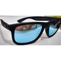 Óculos Ray Ban Rb4165 Justin Preto Fosco Lentes Azul Polariz