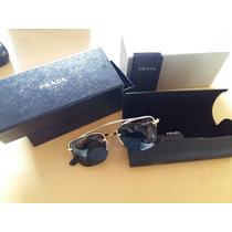 Oculos De Sol Prada Spr 57o Dourado Lente Preta