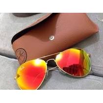 Óculos R Ayb An ,aviadorr Lente Vermelha Espelhada M Ou G