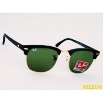 Óculos Clubmaster Preto Com Lente Verdes Em Cristal