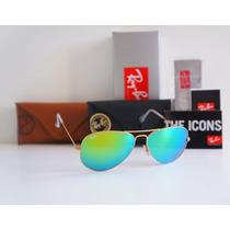 Óculos Rayban Aviador Rb3025 Rb3026 Espelhado Orig Verde