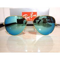 Óculos Rb3026 Aviador Grande Dourado Lente Azul Espelhadas