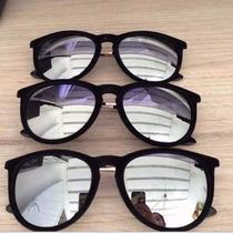 Óculos Solar Preto Veludo Lente Prata Espelhada