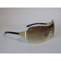 Óculos De Sol Rb3321 Máscara Dourado Lente Marrom Degrade