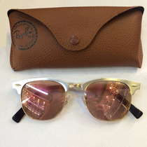 Óculos Rayban Ray Ban Clubmaster Alumínio Prata Lente Rose