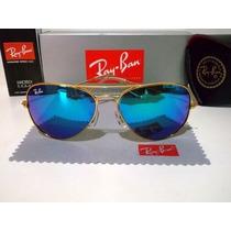 Óculos Rayban Azul Espelhado Aviador Ray Ban 100% Original