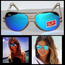 Óculos Ray Ban Aviador Azul Espelhada M Ou G Frete Gratis