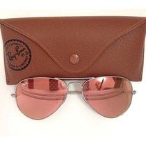 Óculos Ray-ban Original Aviador Rb3025 Prata Rosa Espelhado