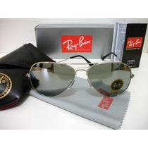 Oculos De Sol Rayban 3025 Aviador Prata Espelhado