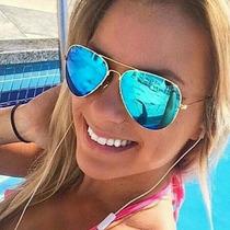 Óculos Aviador Espelhado Azul Com Dourado 3025/3026 Unissex