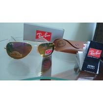 Óculos Ray Ban Espelhado Armação Dourada Lente Marron Ouro