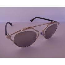 Óculos De Sol Feminino Espelhado Prata/preto So Real Aviador