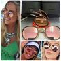 Oculos Sol Ray Ban Round Dobrável Lente Rose Ou Azul Itália