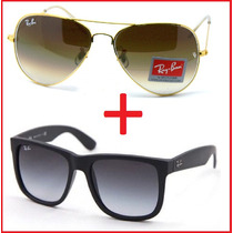 Ray Ban Pague 1 Leve 2 Raybans Aviador Rb3025 Justin Rb4165