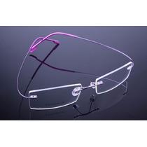 Armação Lilas Roxa Oculos De Grau Metal Titanium Sem Aro 405