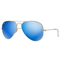 Óculos De Sol Aviador Ray Ban Masculino Dourado Lente Azul