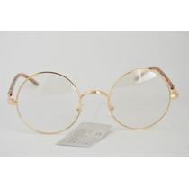 Óculos Dourado P Grau Redondo Detalhe Na Armação B73